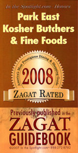 ZAGAT 2008 Park East Kosher rated